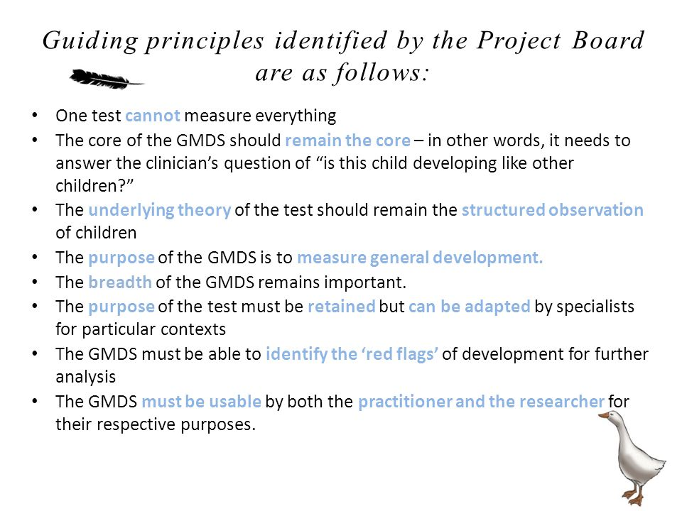 One test cannot measure everything The core of the GMDS should remain the core – in other words, it needs to answer the clinician's question of is this child developing like other children? The underlying theory of the test should remain the structured observation of children The purpose of the GMDS is to measure general development.