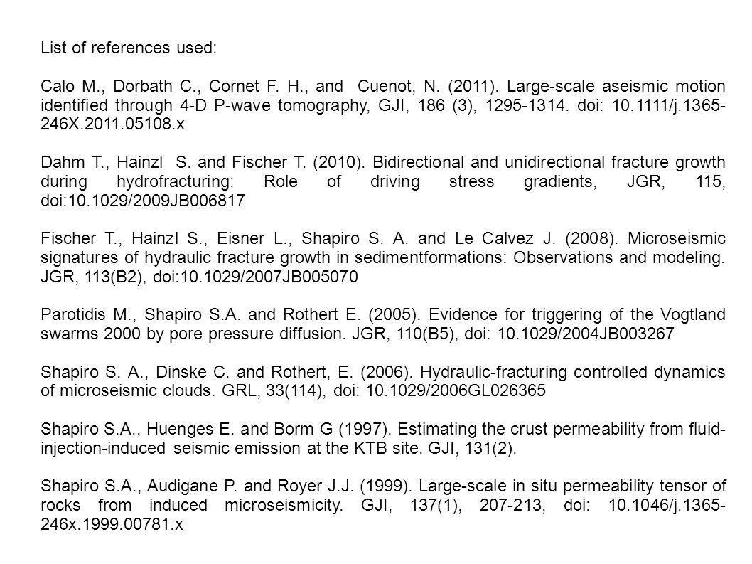 List of references used: Calo M., Dorbath C., Cornet F.