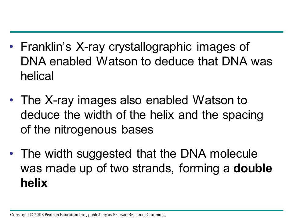 Franklin's X-ray crystallographic images of DNA enabled Watson to deduce that DNA was helical The X-ray images also enabled Watson to deduce the width