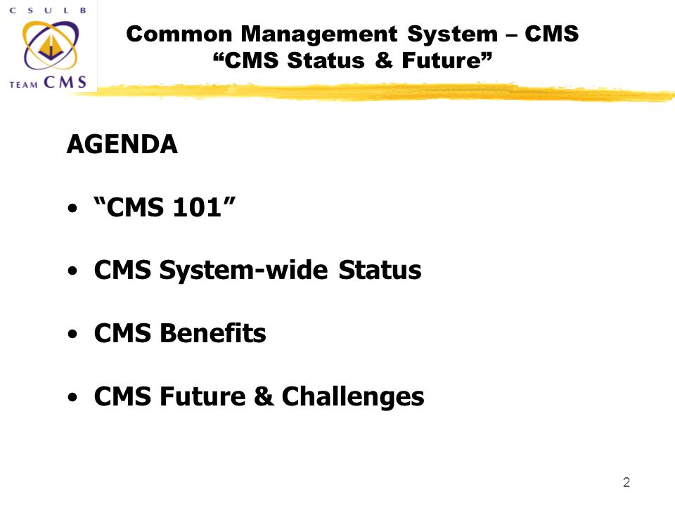 Common Management System – CMS CMS Status & Future 2 AGENDA CMS 101 CMS System-wide Status CMS Benefits CMS Future & Challenges