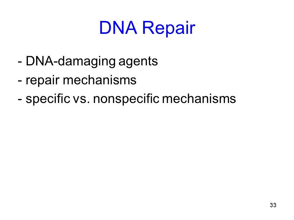 33 DNA Repair - DNA-damaging agents - repair mechanisms - specific vs. nonspecific mechanisms