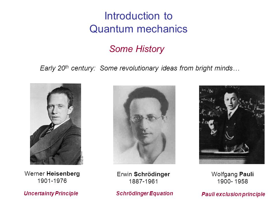 Introduction to Quantum mechanics Early 20 th century: Some revolutionary ideas from bright minds… Some History Werner Heisenberg 1901-1976 Uncertainty Principle Erwin Schrödinger 1887-1961 Schrödinger Equation Wolfgang Pauli 1900- 1958 Pauli exclusion principle