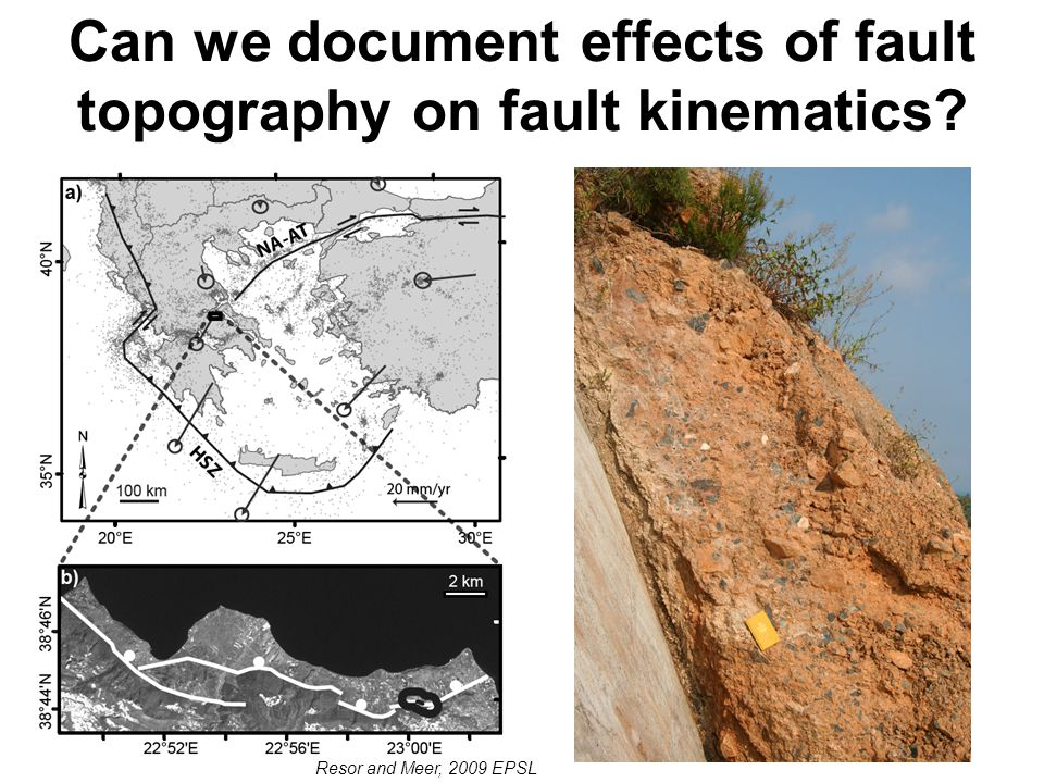 Can we document effects of fault topography on fault kinematics Resor and Meer, 2009 EPSL