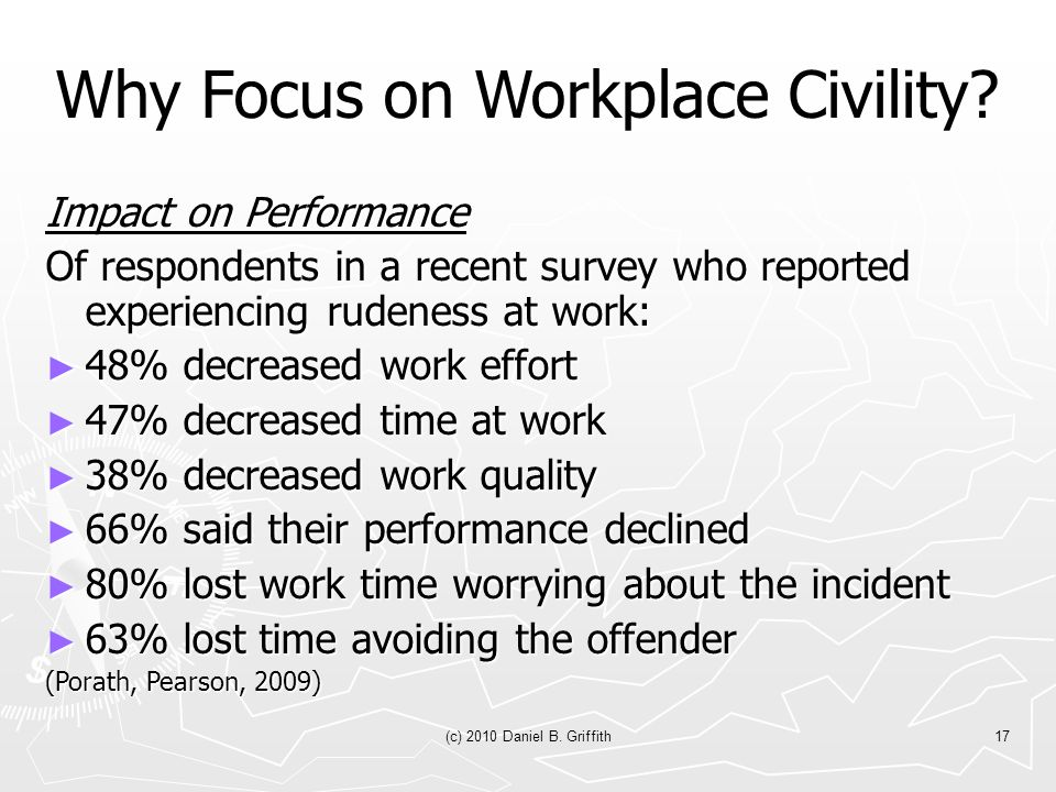 (c) 2010 Daniel B. Griffith17 Why Focus on Workplace Civility.