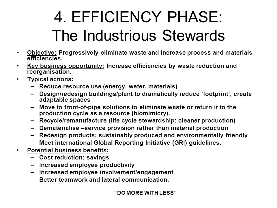 4. EFFICIENCY PHASE: The Industrious Stewards Objective: Progressively eliminate waste and increase process and materials efficiencies. Key business o