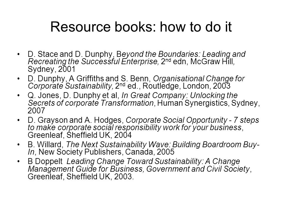Resource books: how to do it D. Stace and D. Dunphy, Beyond the Boundaries: Leading and Recreating the Successful Enterprise, 2 nd edn, McGraw Hill, S