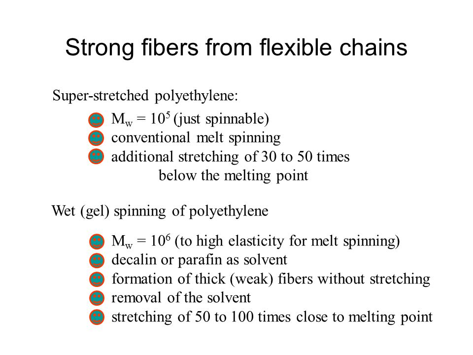 Strong fibers from flexible chains Super-stretched polyethylene: M w = 10 5 (just spinnable) conventional melt spinning additional stretching of 30 to 50 times below the melting point Wet (gel) spinning of polyethylene M w = 10 6 (to high elasticity for melt spinning) decalin or parafin as solvent formation of thick (weak) fibers without stretching removal of the solvent stretching of 50 to 100 times close to melting point