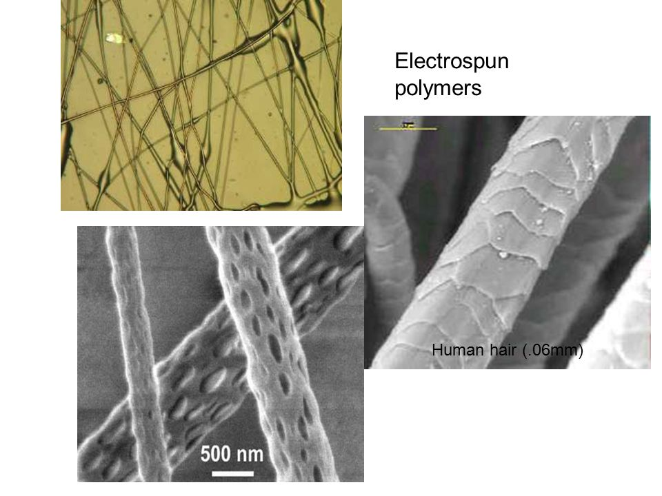 Human hair (.06mm) Electrospun polymers