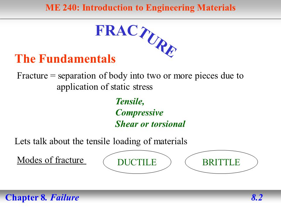 ME 240: Introduction to Engineering Materials Chapter 8. Failure 8.13 Modes of fracture