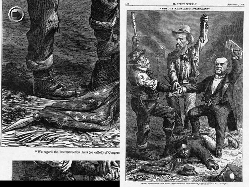 Thomas Nast ' s depiction of the African American victim sacrificed upon the altar of the white man ' s government and sectional reunion and reconciliation