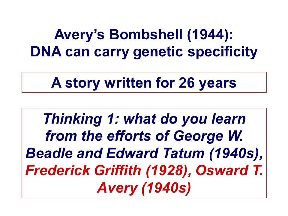 Avery's Bombshell (1944): DNA can carry genetic specificity A story written for 26 years Thinking 1: what do you learn from the efforts of George W.