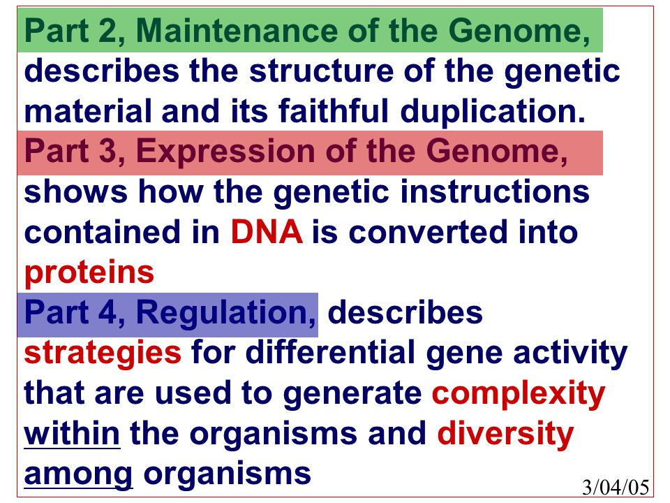 Part 2, Maintenance of the Genome, describes the structure of the genetic material and its faithful duplication.