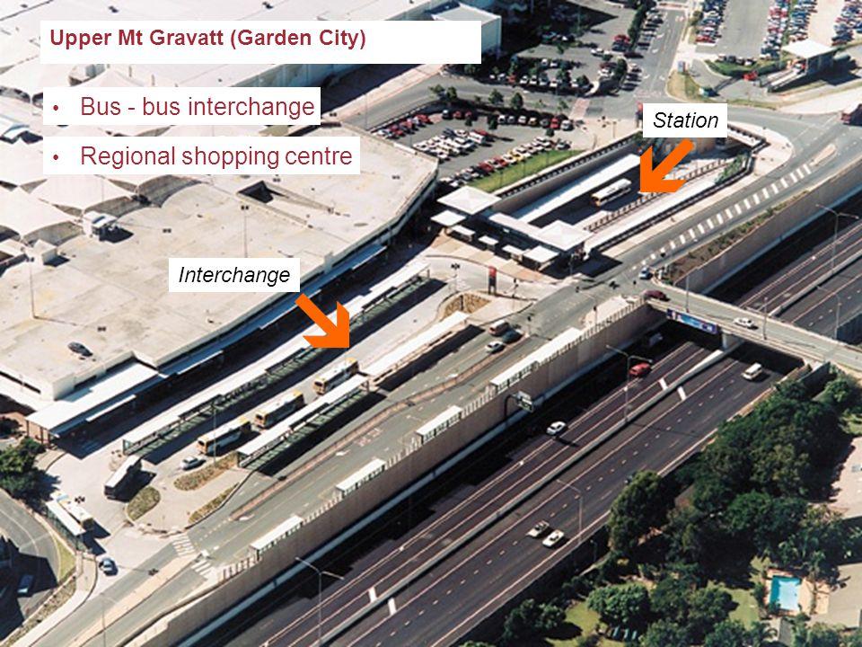 South Bank Upper Mt Gravatt (Garden City) Bus - bus interchange Regional shopping centre Station Interchange