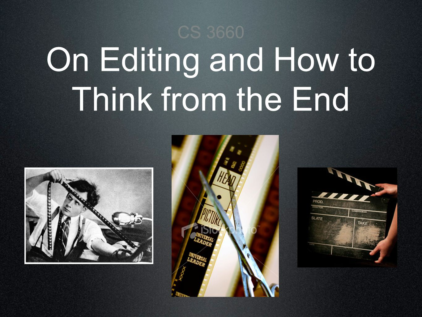 Editing Rules 3.) SHOT/REVERSE SHOT Similar shot sizes complementing each other from one angle and then the opposite or reverse angle Exchanges glances and often used for dialogue Note similar composition and eye-line match