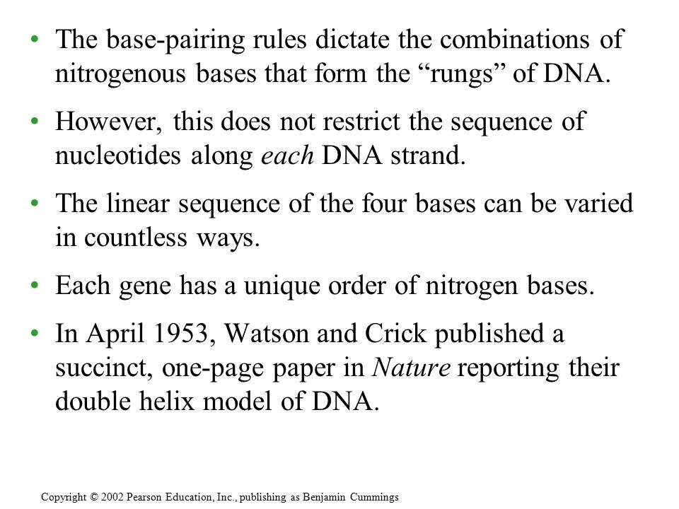"The base-pairing rules dictate the combinations of nitrogenous bases that form the ""rungs"" of DNA. However, this does not restrict the sequence of nuc"