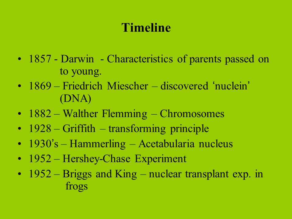 Timeline 1857 - Darwin - Characteristics of parents passed on to young. 1869 – Friedrich Miescher – discovered 'nuclein' (DNA)‏ 1882 – Walther Flemmin
