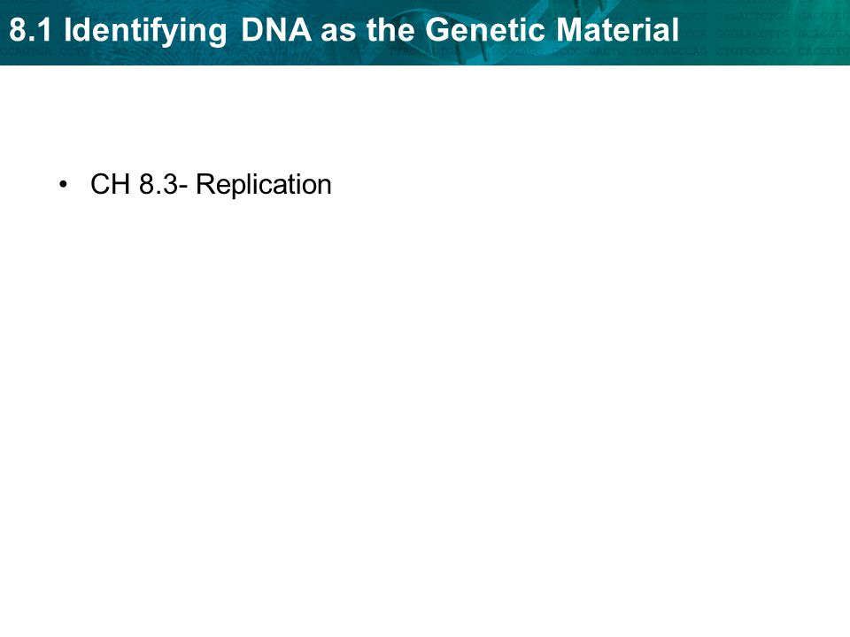 8.1 Identifying DNA as the Genetic Material CH 8.3- Replication
