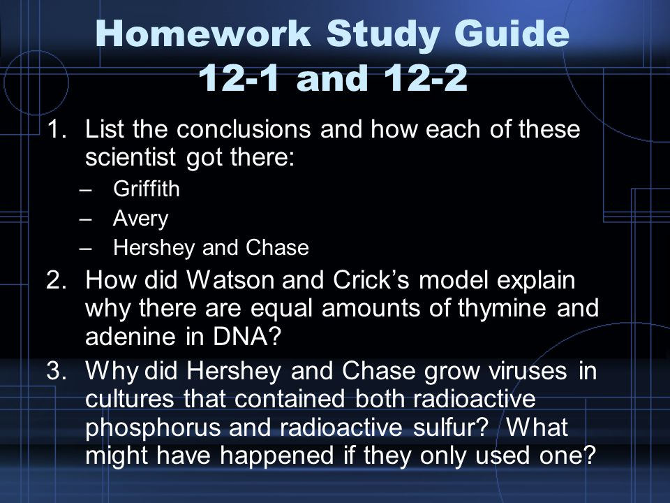 Homework Study Guide 12-1 and 12-2 1.List the conclusions and how each of these scientist got there: –Griffith –Avery –Hershey and Chase 2.How did Watson and Crick's model explain why there are equal amounts of thymine and adenine in DNA.