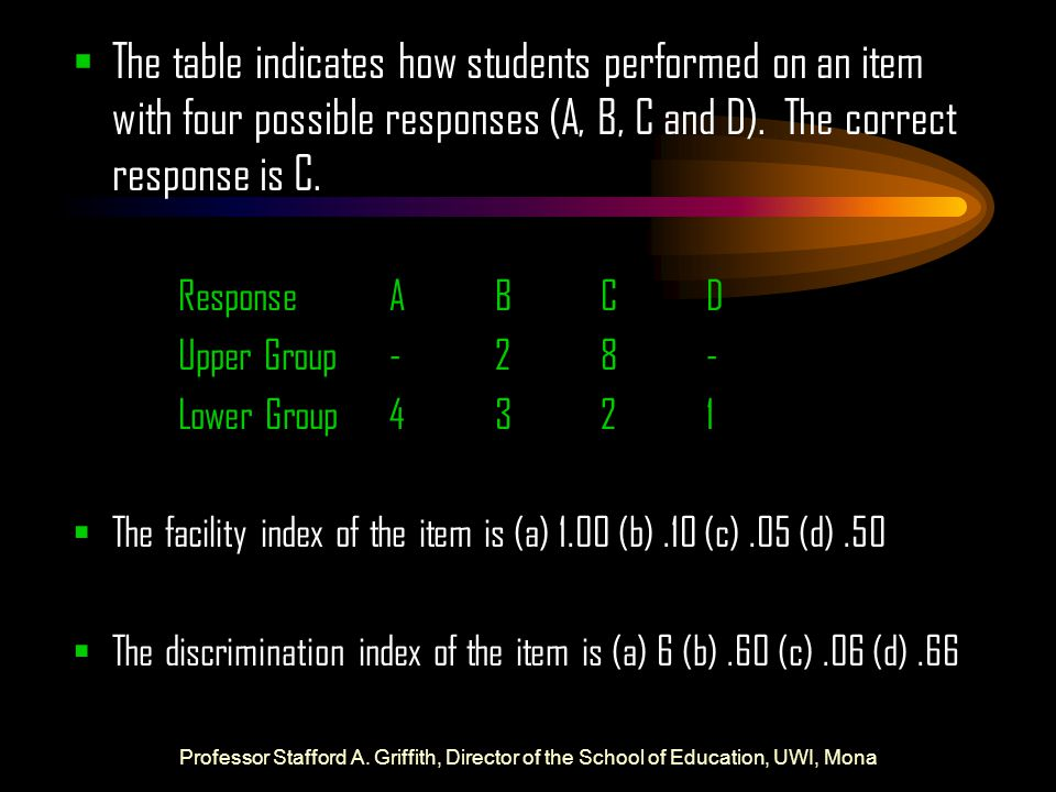  The table indicates how students performed on an item with four possible responses (A, B, C and D). The correct response is C. ResponseABCD Upper Gr