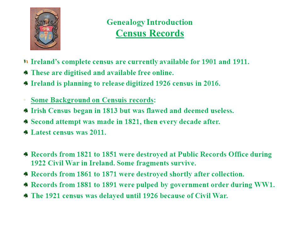 Genealogy Introduction Griffiths Valuations, Tithe Allotment, Estate Records Griffith Valuation of Tenements -- 1847 to 1863.