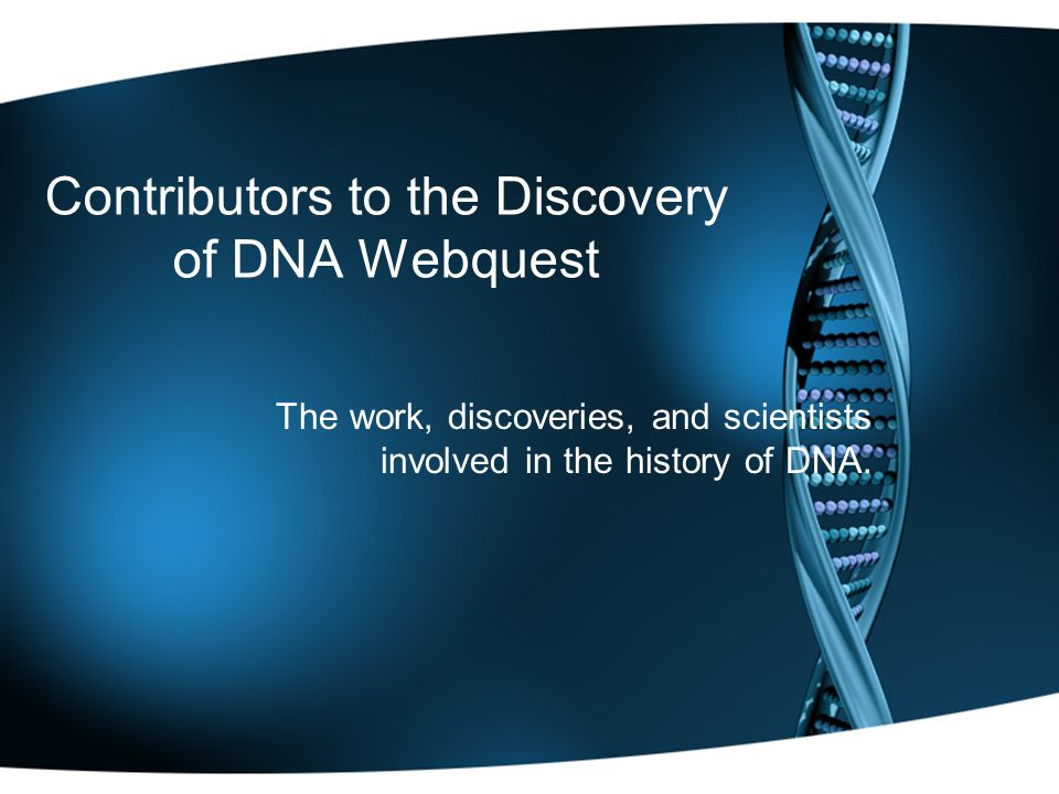 Contributors to the Discovery of DNA Webquest The work, discoveries, and scientists involved in the history of DNA.