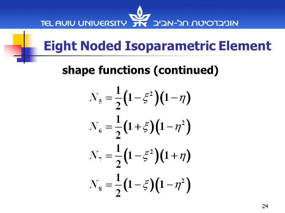 24 Eight Noded Isoparametric Element shape functions (continued)