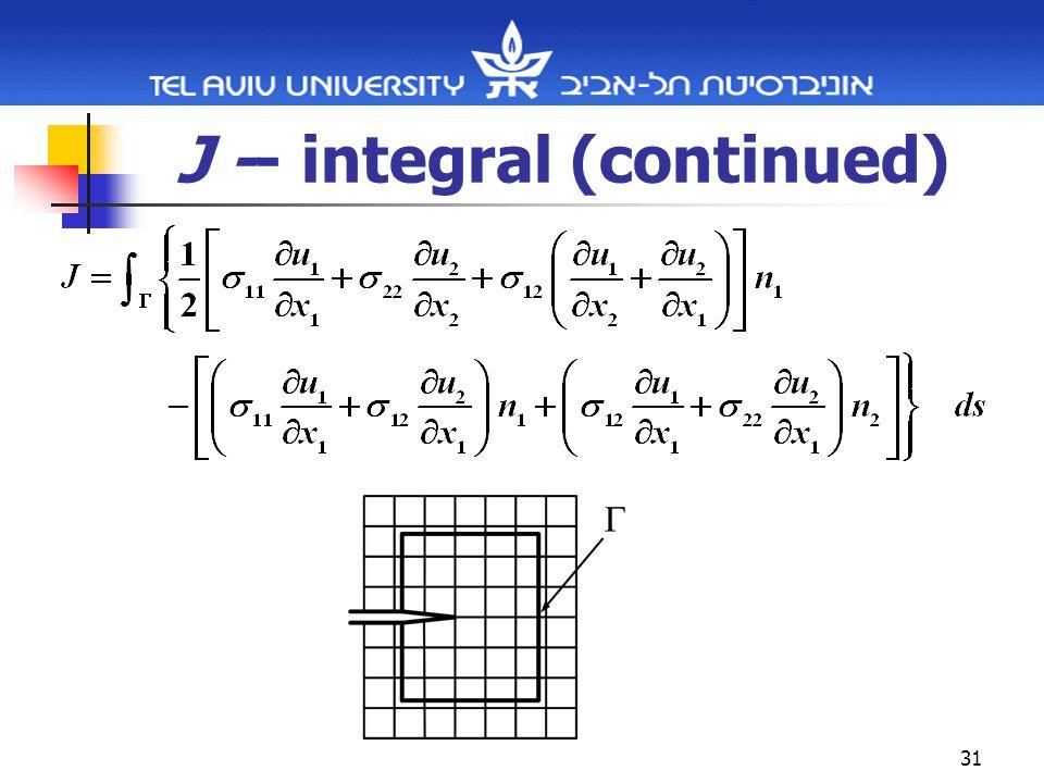 31 J -- integral (continued)