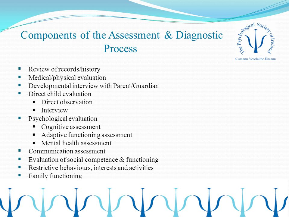 Components of the Assessment & Diagnostic Process  Review of records/history  Medical/physical evaluation  Developmental interview with Parent/Guar