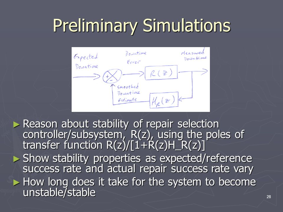 28 Preliminary Simulations ► Reason about stability of repair selection controller/subsystem, R(z), using the poles of transfer function R(z)/[1+R(z)H_R(z)] ► Show stability properties as expected/reference success rate and actual repair success rate vary ► How long does it take for the system to become unstable/stable