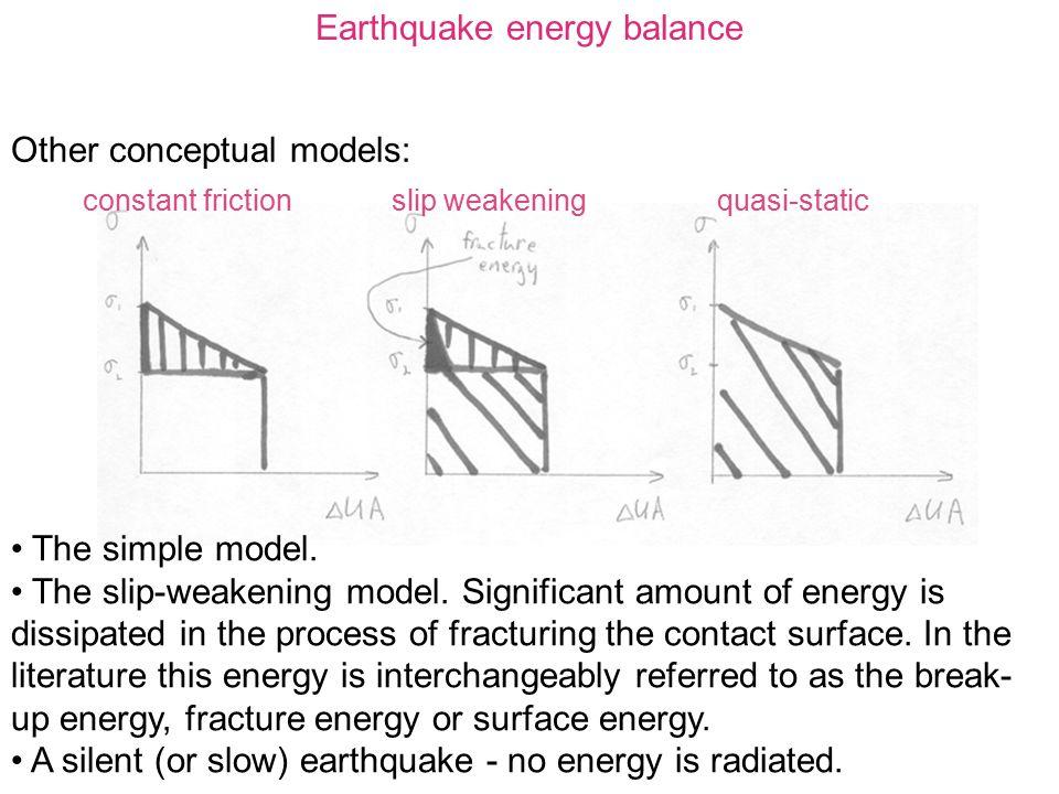 Earthquake energy balance Other conceptual models: constant frictionslip weakeningquasi-static The simple model. The slip-weakening model. Significant