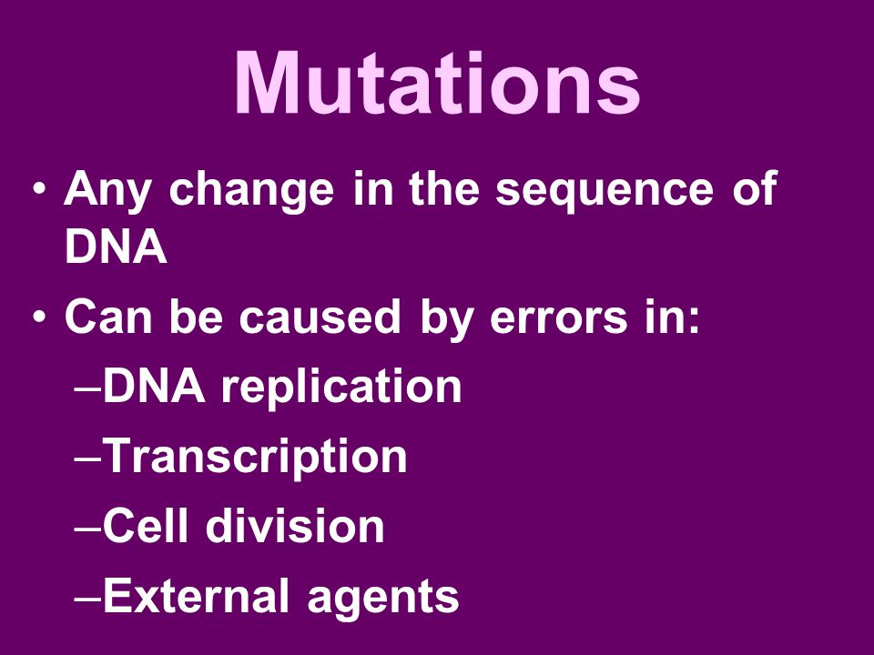 Mutations Any change in the sequence of DNA Can be caused by errors in: –DNA replication –Transcription –Cell division –External agents