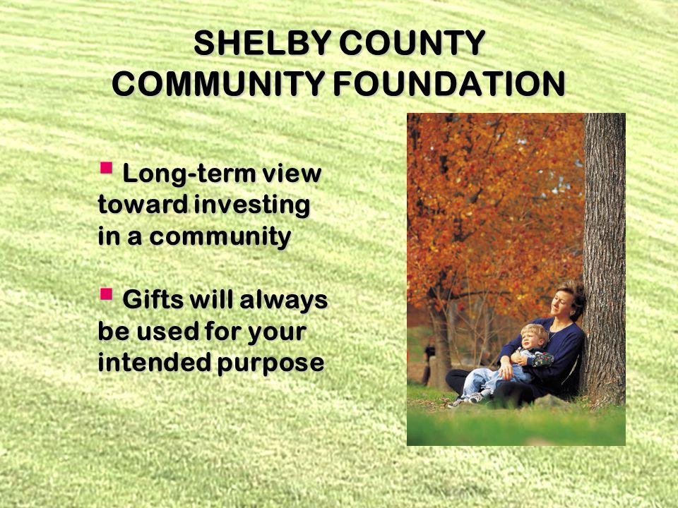 SHELBY COUNTY COMMUNITY FOUNDATION ENDOWMENTS ENDOWMENTS Designated Designated Field of Interest Field of Interest Donor Advised Donor Advised Scholarship Scholarship Unrestricted Unrestricted