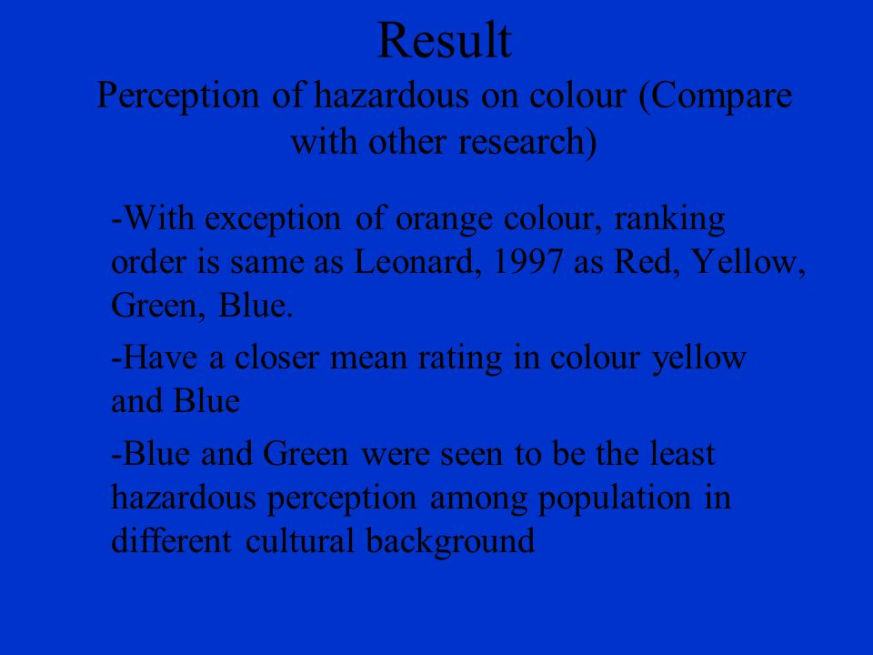 Result Perception of hazardous on colour (Compare with other research) -With exception of orange colour, ranking order is same as Leonard, 1997 as Red, Yellow, Green, Blue.