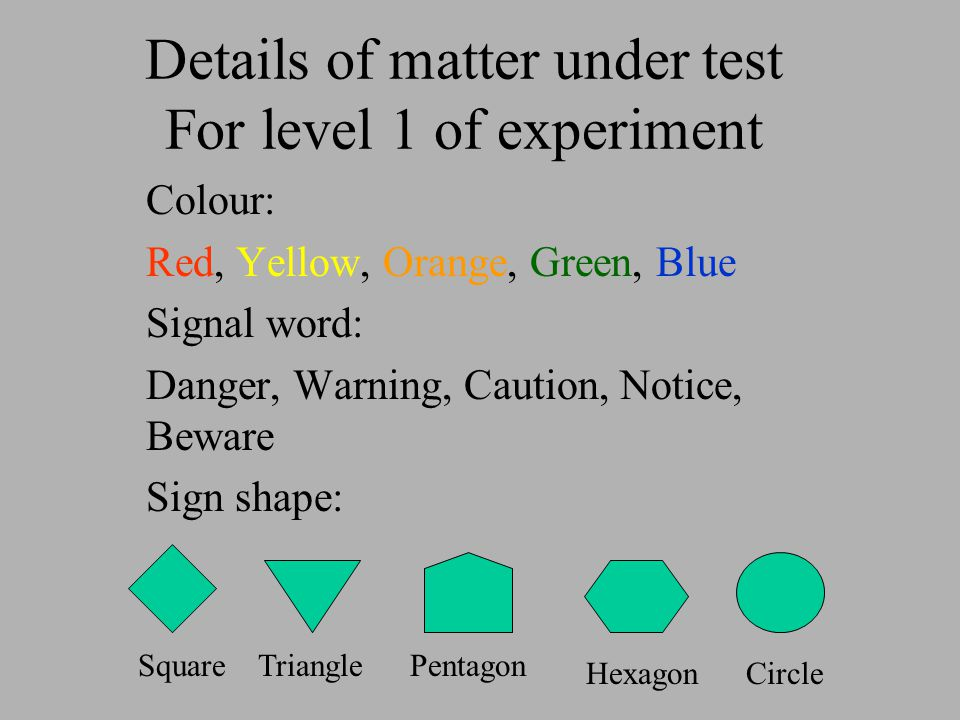 Details of matter under test For level 1 of experiment Colour: Red, Yellow, Orange, Green, Blue Signal word: Danger, Warning, Caution, Notice, Beware Sign shape: TrianglePentagon HexagonCircle Square