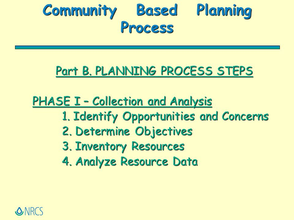 Community Based Planning Process Part B. PLANNING PROCESS STEPS PHASE I – Collection and Analysis 1. Identify Opportunities and Concerns 2. Determine