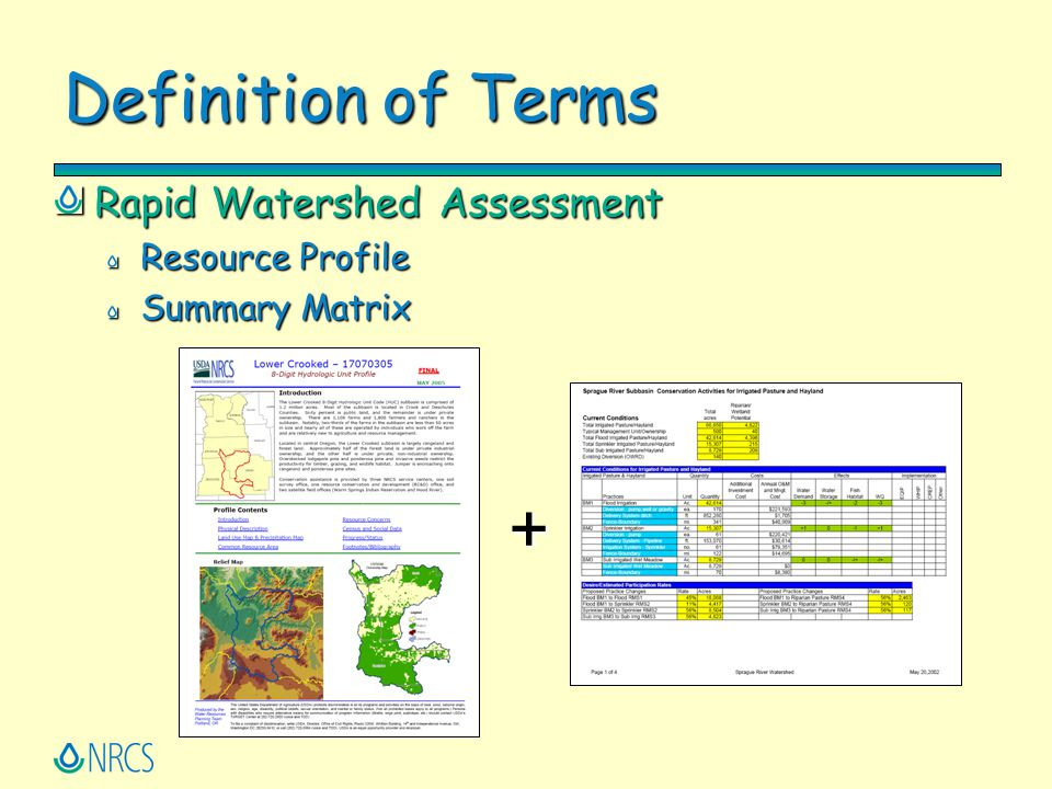 Definition of Terms Rapid Watershed Assessment Resource Profile Summary Matrix +