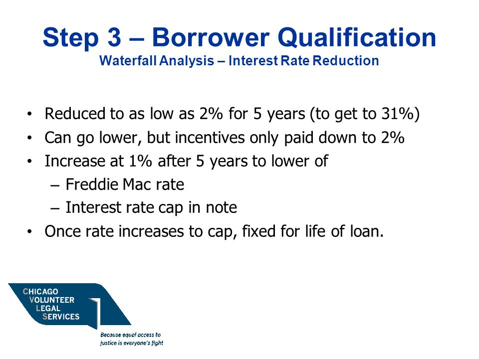 Step 3 – Borrower Qualification Waterfall Analysis – Interest Rate Reduction Reduced to as low as 2% for 5 years (to get to 31%) Can go lower, but incentives only paid down to 2% Increase at 1% after 5 years to lower of – Freddie Mac rate – Interest rate cap in note Once rate increases to cap, fixed for life of loan.