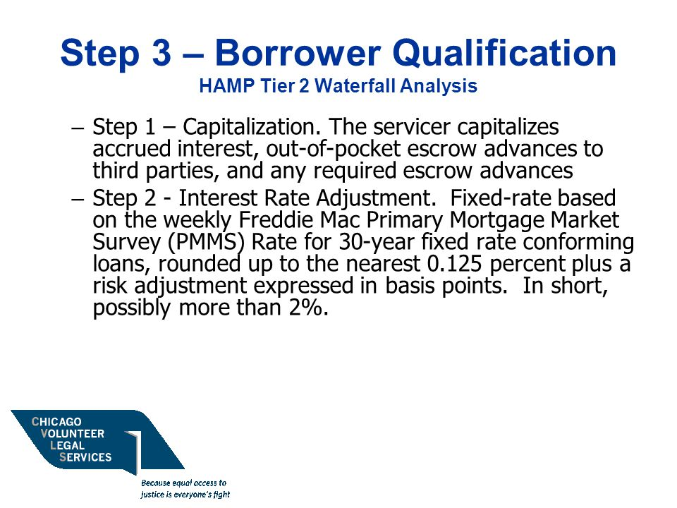 Step 3 – Borrower Qualification HAMP Tier 2 Waterfall Analysis – Step 1 – Capitalization.