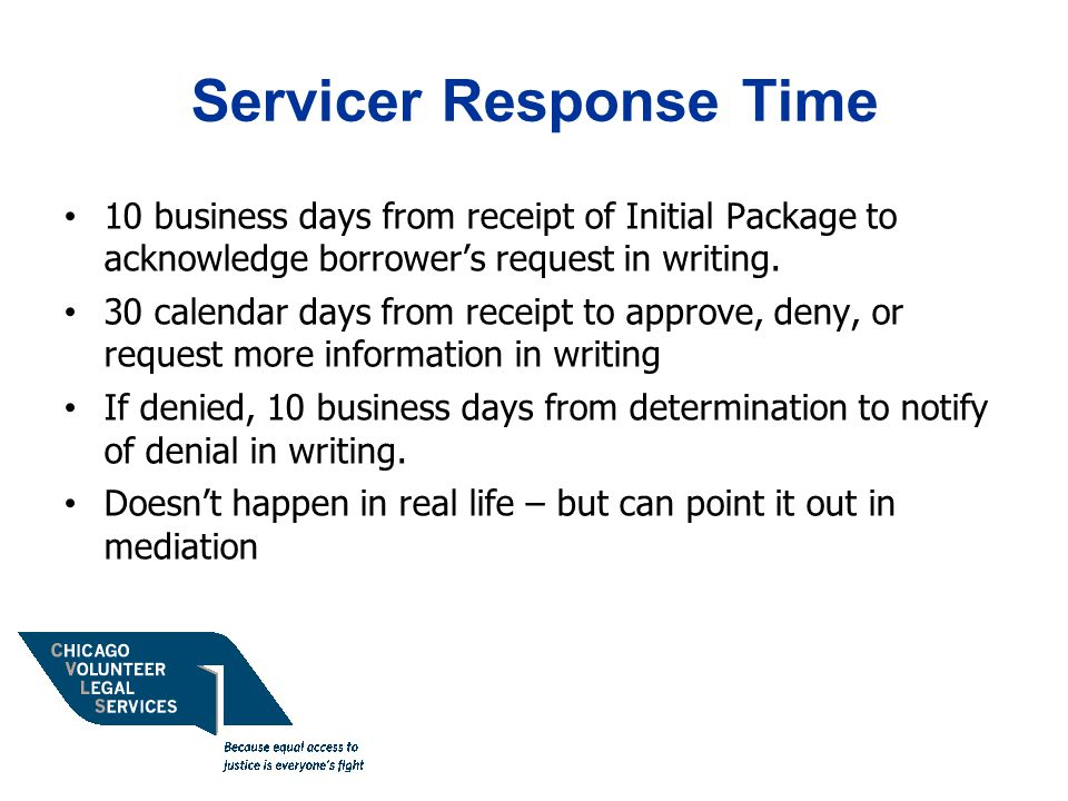 Servicer Response Time 10 business days from receipt of Initial Package to acknowledge borrower's request in writing.