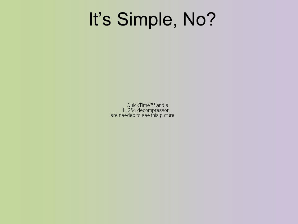 It's Simple, No?
