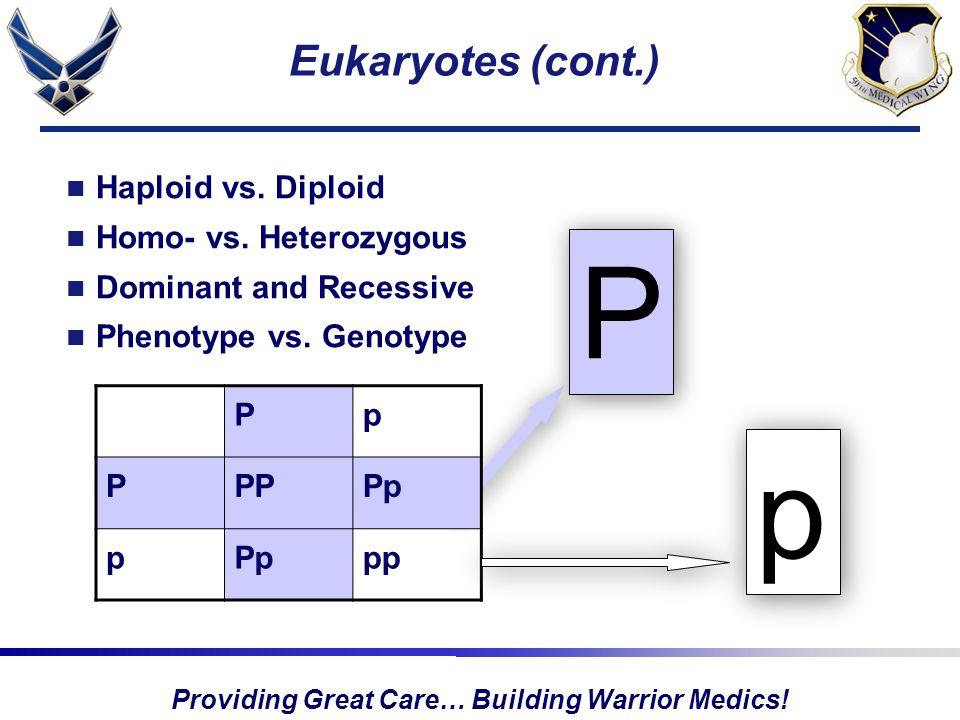 Providing Great Care… Building Warrior Medics. Eukaryotes (cont.) Haploid vs.