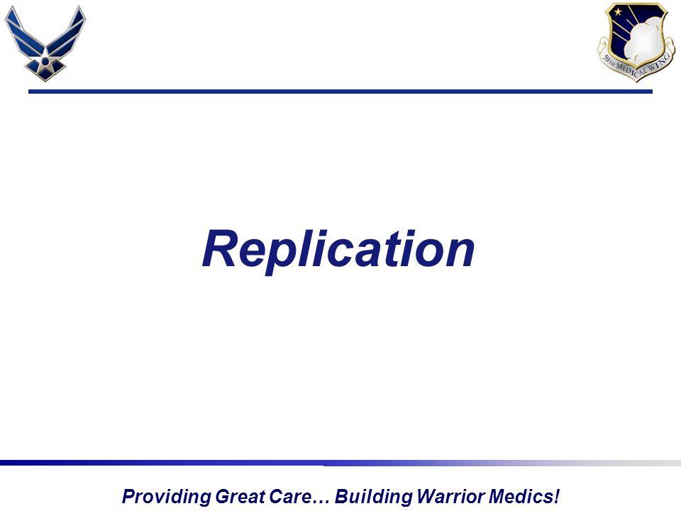 Providing Great Care… Building Warrior Medics! Replication