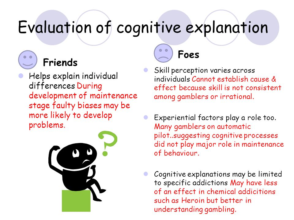 Evaluation of cognitive explanation Friends Helps explain individual differences During development of maintenance stage faulty biases may be more lik