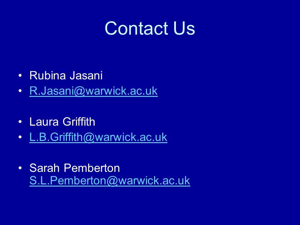 Contact Us Rubina Jasani R.Jasani@warwick.ac.uk Laura Griffith L.B.Griffith@warwick.ac.uk Sarah Pemberton S.L.Pemberton@warwick.ac.uk S.L.Pemberton@warwick.ac.uk