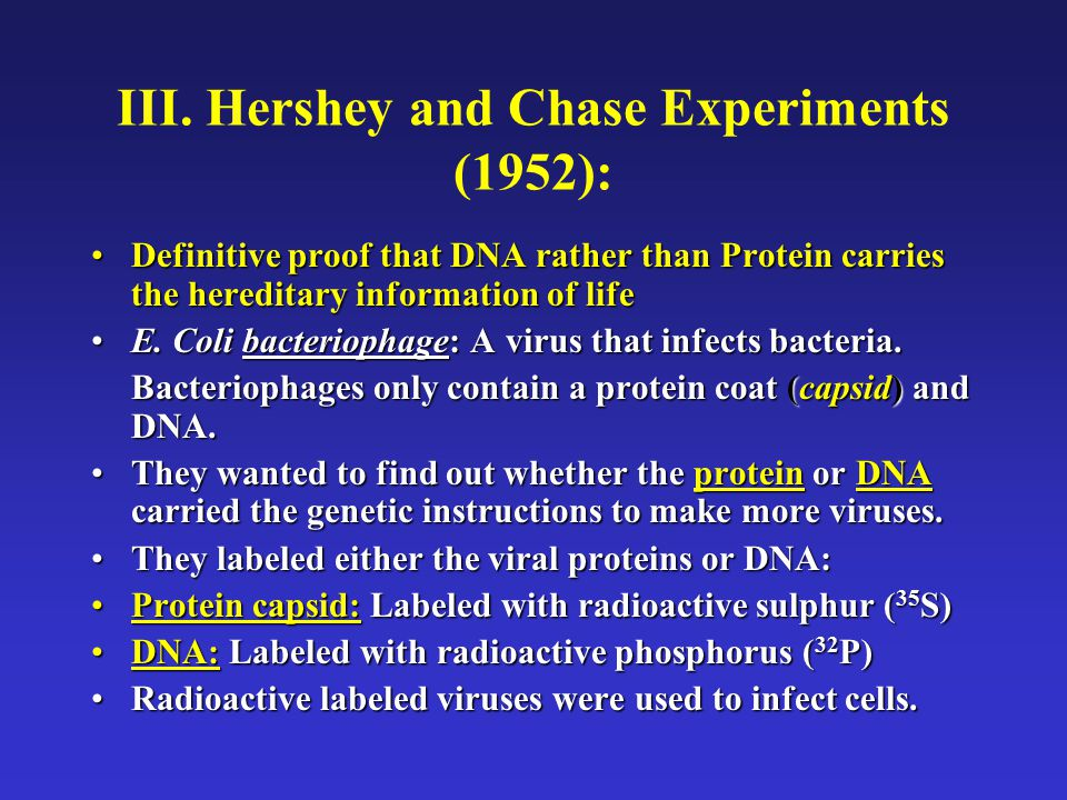 III. Hershey and Chase Experiments (1952): Definitive proof that DNA rather than Protein carries the hereditary information of lifeDefinitive proof th