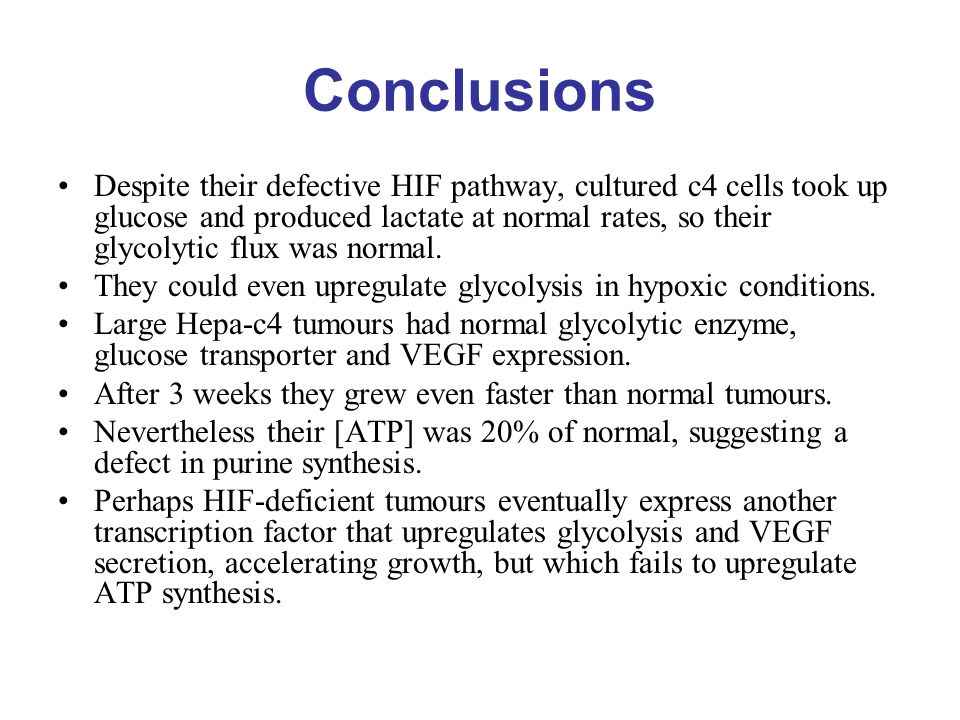 Conclusions Despite their defective HIF pathway, cultured c4 cells took up glucose and produced lactate at normal rates, so their glycolytic flux was normal.