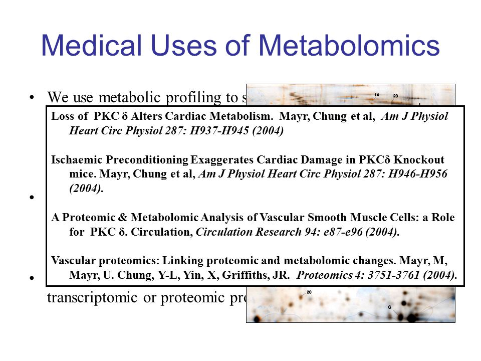 Medical Uses of Metabolomics We use metabolic profiling to study –Genetically modified cells, –Tissues from genetically modified organisms, –Biopsies from patients.