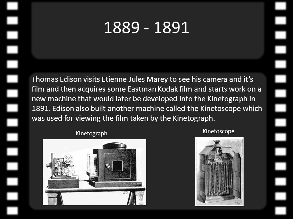 1888 Thomas Edison begins experimenting trying to adapt the phonograph into a device with the ability to show moving pictures and tries to make rows of miniature photographs to work as what would eventually become Celluloid Film.