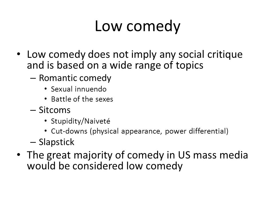 What makes a TV show or film funny.Text must be perceived as funny by the audience member.