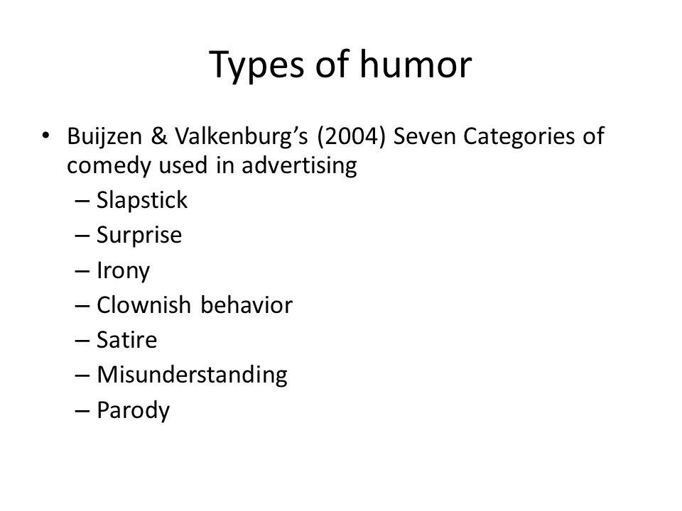 Types of humor Buijzen & Valkenburg's (2004) Seven Categories of comedy used in advertising – Slapstick – Surprise – Irony – Clownish behavior – Satir